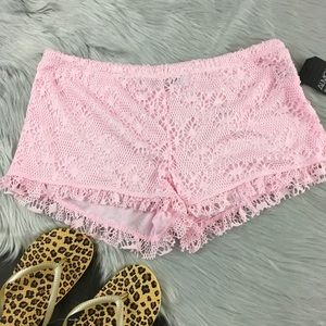 Almost famous light pink crochet lace beach shorts